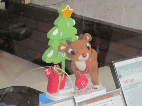Rudolph was the lone window decoration.