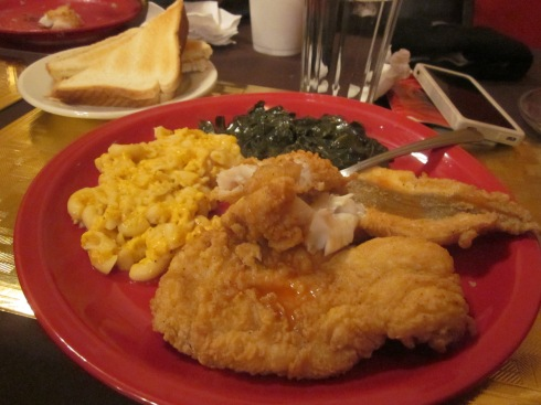 Fried whiting, baked macaroni, collard greens and buttered white toast.