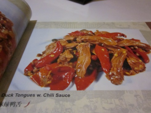 Duck tongue, not duck confit from La Vie en Szechuan's illustrated menu.