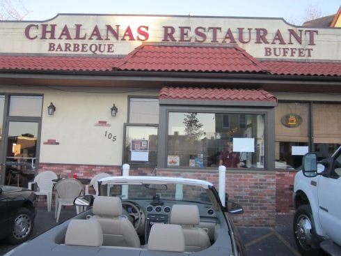 "Parking and dining ""al fresco"" at Chalanas."