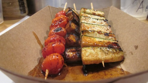 Grilled vegetables on a stick.