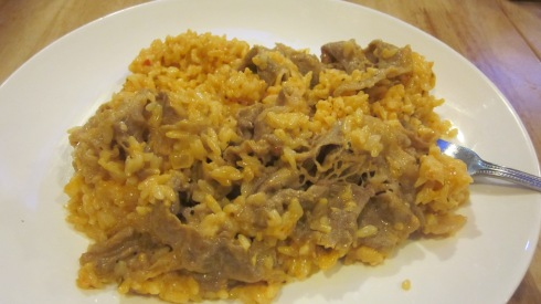 Creamy rice with fatty beef