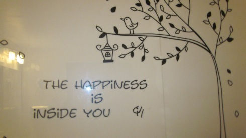 Some of the happiness inside the Cutting Board rest room.
