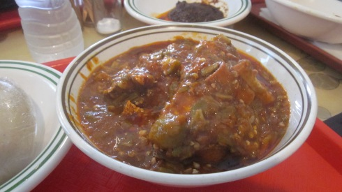 Fish and goat stew with banku